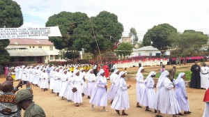 The Sisters in procession heading toelebration the church fo Mass c